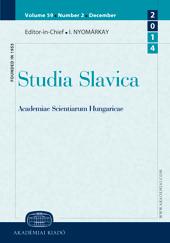 Studia Slavica Academiae Scientiarum Hungaricae